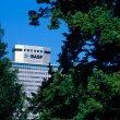 Das BASF-Hochhaus in Ludwigshafen. Das Friedrich-Engelhorn-Haus der BASF ist ein Bürohochhaus. Das 1957 errichtete Gebäude ist 102 Meter hoch. Weithin sichtbar ist es heute auch das Wahrzeichen der Stadt Ludwigshafen. Abdruck honorarfrei. Copyright by BASF.  BASF skyscraper in Ludwigshafen. BASF¹s Friedrich Engelhorn building is an office high rise. Built in 1957, it is 102 meters high. It is visible from a great distance and is a landmark of the city of Ludwigshafen. Print free of charge. Copyright by BASF.
