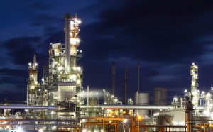 Oil and gas refinery plant at night - Petrochemical factory
