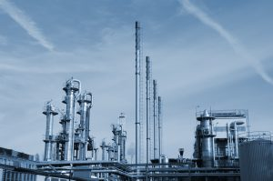 oil and gas refinery in blue