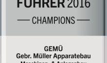 """Mit der Auszeichnung darf sich Gemü nun offiziell """"Weltmarktführer 2016"""" nennen. (Bild: Gemü)"""