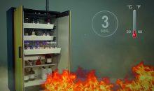Jede Sekunde zählt: Verschiedene Schutzfunktionen müssen Feuer mindestens 90 min lang vom Inneren des Sicherheitsschrankes fernhalten. Bilder: Asecos