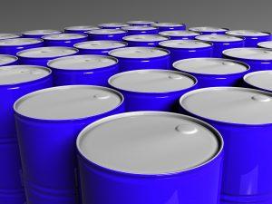 Many blue barrels three dimensional model