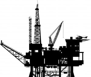 Oil drilling rig silhouette, vector illustration