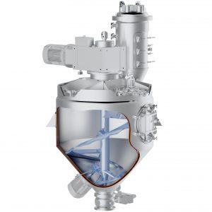 Dieser konische Vakuum-Mischer kommt bei der Produktion von hochreinen Wirkstoffsubstanzen für Pflanzenschutzmittel zum Einsatz. Bild: Amixon