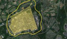 Die Umrandung zeigt den angemessenen Sicherheitsabstand zwischen Chemiepark und schutzbedürftiger Nachbarschaft an. (Bild: Evonik)