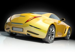 Yellow sports car. Non-branded car design.