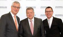 Peter Gerstmann, Vorsitzender der Geschäftsführung, Michael Heidemann, stellvertretender Vorsitzender der Geschäftsführung, und Christian Dummler, Geschäftsführer und CFO, präsentieren die Jahresergebnisse für das Geschäftsjahr 2016 auf dem Bilanzpressegespräch in Friedrichshafen. Bild: Zeppelin