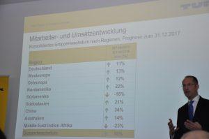Geschäftsführer Christian Wolf präsentiert das Umsatzwachstum der Turck-Gruppe. (Bild: Redaktion)