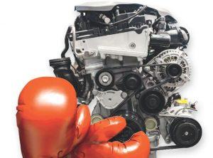 Motor und Handschuh