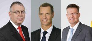 Helmut Knauthe, Andreas Widl und Klaus Schäfer (v.l.n.r.) gehören zu den Neumitgliedern im Dechema-Vorstand. (Bilder: Thyssenkrupp, Samson, Covestro)