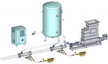 1: 3D-Modell des Smart-Air-Injection-Systems mit zwei Injektionsstellen für Polymerlösung und Druckluft. Bilder: Seepex