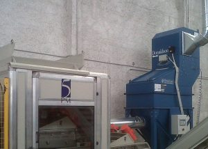 Donaldson PowerCore® CPC6 dust collector applied at glas recycling facility