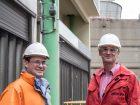 Frank Thören (links), Automatisierungsexperte bei Currenta, und Heinrich Brucks, Flexim-Vertriebsingenieur im Außendienst, bei der gemeinsamen Begutachtung der Clamp-on-Ultraschall-Durchflussmessstelle am Kühlturm.