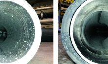 Konventionelle Förderung (links) und Fluidlift Ecoblue (rechts): Das Förderverfahren vermindert Abrieb und dessen Ablagerungen in der Anlage. Bilder: Coperion, Weingarten