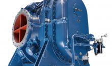 Dieser Kaventsmann war bei der Aerzener Maschinenfabrik am Stand zu sehen. Mit der Großgebläse-Serie Alpha Blower erweitert der Hersteller sein Sortiment im Bereich der Prozessluftstufen. Bild: Aerzener