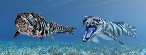 Dakosaurus attacks Dunkleosteus