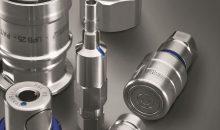Stäubli zeigte auf der Achema ein umfangreiches Programm an Kupplungen und Verbindungstechnik für den sicheren Transfer von Flüssigkeiten und Gasen. Bild: Stäubli
