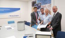 Bei der Eröffnung des neuen Filtration Science Lab in Weinheim (v.l.): Dr. Andreas Kreuter, Dr. Thomas Caesar, Matthias Schilling und Dr. Jörg Sievert.