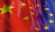 3d rendering China and EU flag waving