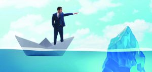 BUsinessman showing directions to avoid problems as iceberg