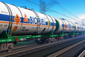 Freight train with biofuel tankcars