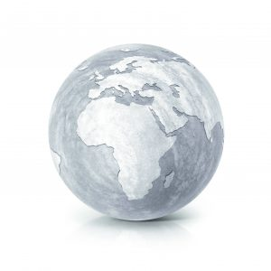 Cement globe 3D illustration europe and africa map on white back