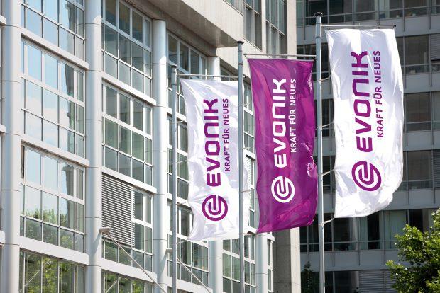 Evonik, Chemie, Fahnen, Zentrale in Essen, Campus, Rellinghaus, Haedquarter, Kraft für Neues