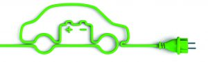 Green power plug car with car battery