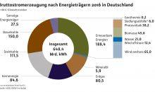 Bruttostromerzeugung in kWh nach Energieträgern in Deutschland 2016. (Bild: BDEW)