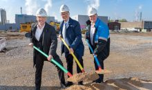 Symbolic groundbreaking for the expansion of Covestro's film production in Dormagen (from left to right): Thorsten Dreier (Head of films business), Chief Technology Officer Klaus Schäfer and Michael Friede (Head of of the Coatings, Adhesives, Specialties segment).  -------------------------------------- Symbolischer Spatenstich für die Erweiterung der Covestro-Folienproduktion in Dormagen (v.l.): Thorsten Dreier (Leiter Foliengeschäft), Produktionsvorstand Klaus Schäfer und Michael Friede (Leiter des Segments Coatings, Adhesives, Specialties).