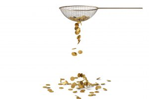Gold coin on strainer.3D illustration.