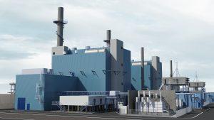 So sollen die beiden neuen Kraftwerksblöcke in Marl aussehen. (Bild: Evonik)