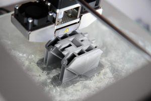 detail of plastic prototype in 3d printer
