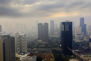 Jakarta city covered by air pollution at morning