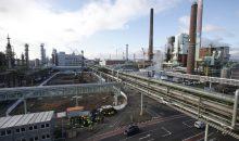 Baustelle für die neue Gasturbinen-Anlage im Industriepark Höchst, auf der gerade die Pfahlbohrarbeiten für die Fundamente beginnen