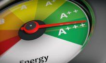 3d rendering energy efficiency as car speedometer close up