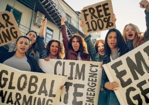Young people protesting of climate emergency on the street