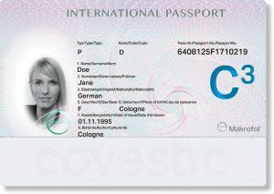 Beispiel eines Ausweisdokumentes mit Sicherheitsmerkmalen