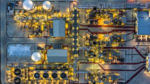 Aerial view Petrochemical plant at night, Oil refinery plant at night.