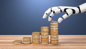 3D Illustration Roboterhand Geldmünzen