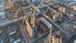 Aerial top down photo of petroleum refinery.