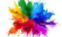 colorful rainbow holi paint color powder explosion isolated on white background