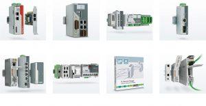 Exemplarischer Überblick über die vielfältigen Komponenten und Systeme, die Phoenix Contact im Bereich Industrial Ethernet anbietet. Bild: Phoenix Contact